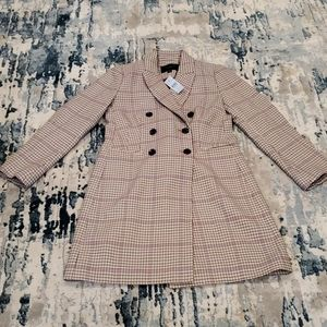 Petite Checked Double Breasted Chesterfield Coat
